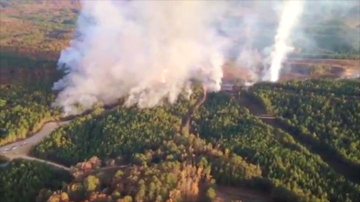 forest fire caused by petrol/gas pipeline explosion in Alabama on 31 October 2016