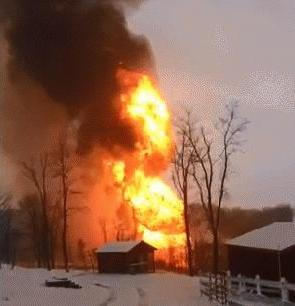 January 2015 gasline explosion in Brooke County, West Virginia - seen from evacuated farm next door