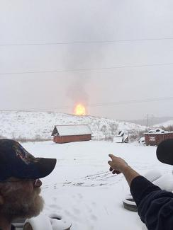 January 2015 gasline explosion in Brooke County, West Virginia - seen from afar (showing magnitude)