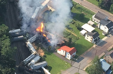 aerial view of burning C.S.X. tankcars & residential structures at Hyndman, Pennsylvania in August 2017