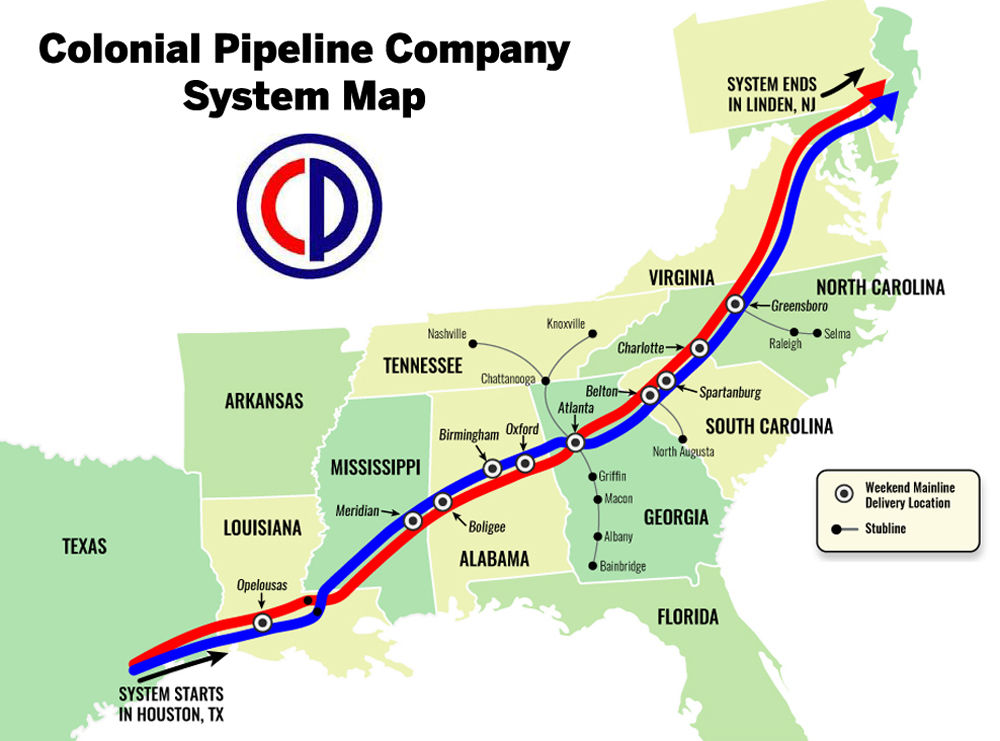 system map of the Colonial Pipeline from Texas to new York