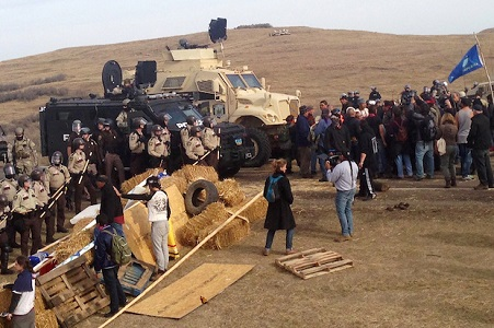 D.A.P.L. Standing Rock November 2016 protesters confront security Humvees