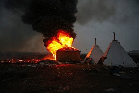 D.A.P.L. Standing Rock February 2017 protesters camp set on fire
