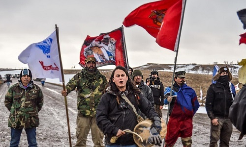 D.A.P.L. Standing Rock February 2017 protesters facing riot police