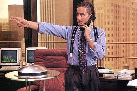 "actor Michael Douglas as Gordon Gekko in Oliver Stone's ""Wall Street"" feature film [1987]"