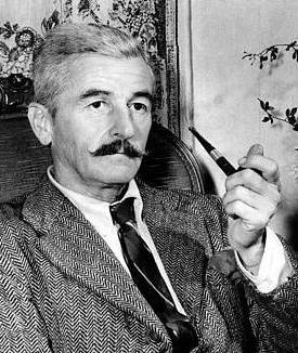 common photo of William Faulkner and his pipe, circa 1950