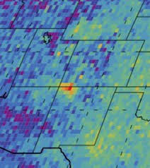 N.A.S.A./J.P.L.-CalTech photograph released in October 2014 showing the methane gas 'hotspot' in the Four Corners area of the Western United States, near the oil & gas boom town of Farmington, New Mexico