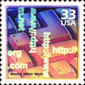 33¢ U.S.P.S. postage stamp of 1999 honoring the World Wide Web