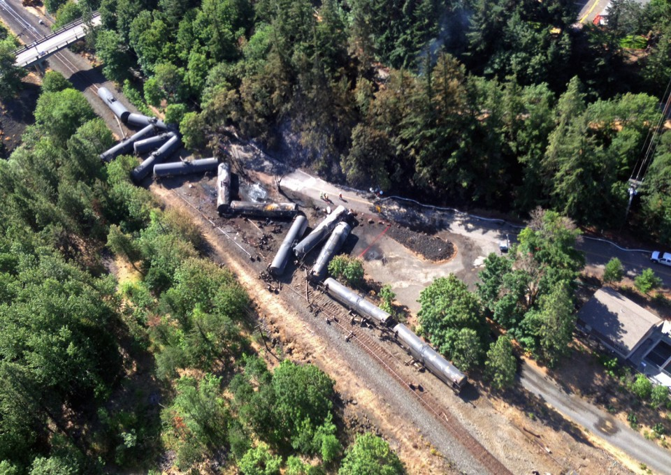 next-day aerial photograph of the Union Pacific Railroad train derailment near Mosier, Oregon in June 2016, provided by the Washington State Department of Ecology